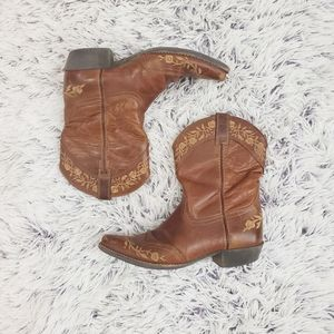 Ariat Brown Floral Embroidered Short Boots